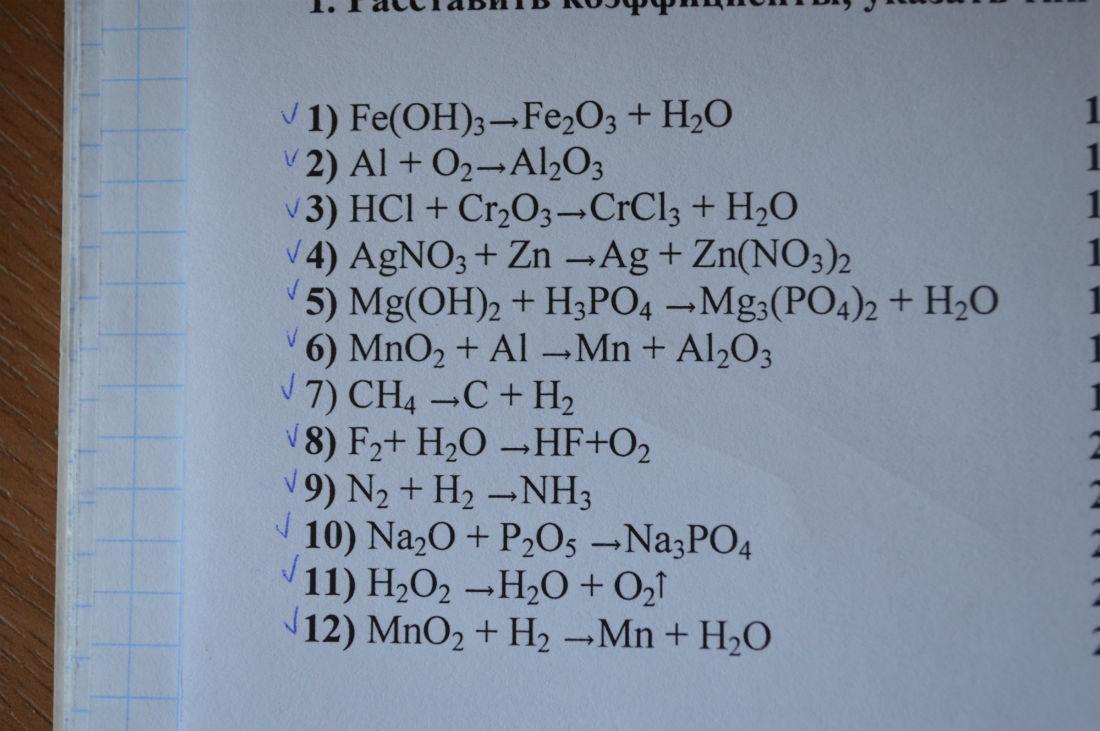 расставить коэффициенты указать тип каждой реакции 1 Feoh3fe2o3