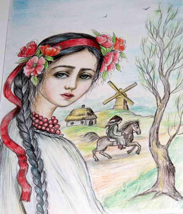 украинка рисунок карандашом