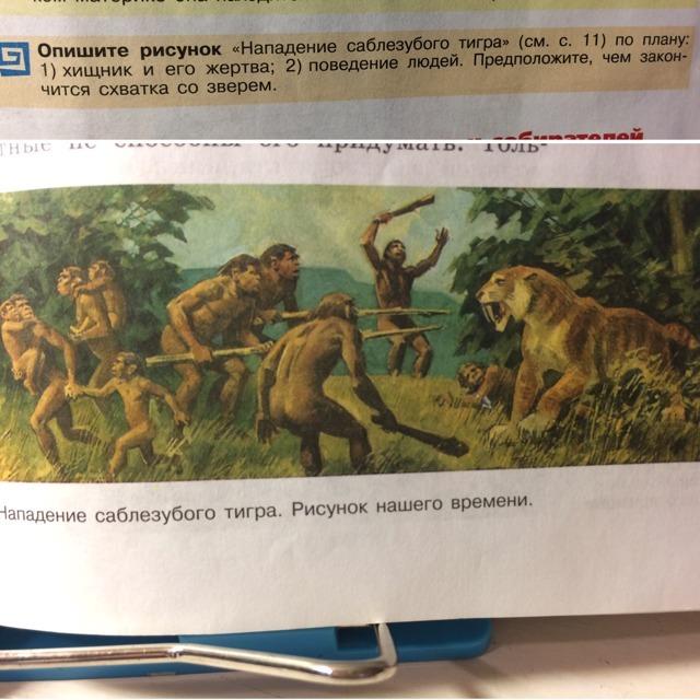 Опиши рисунок нападение саблезубого тигра по плану