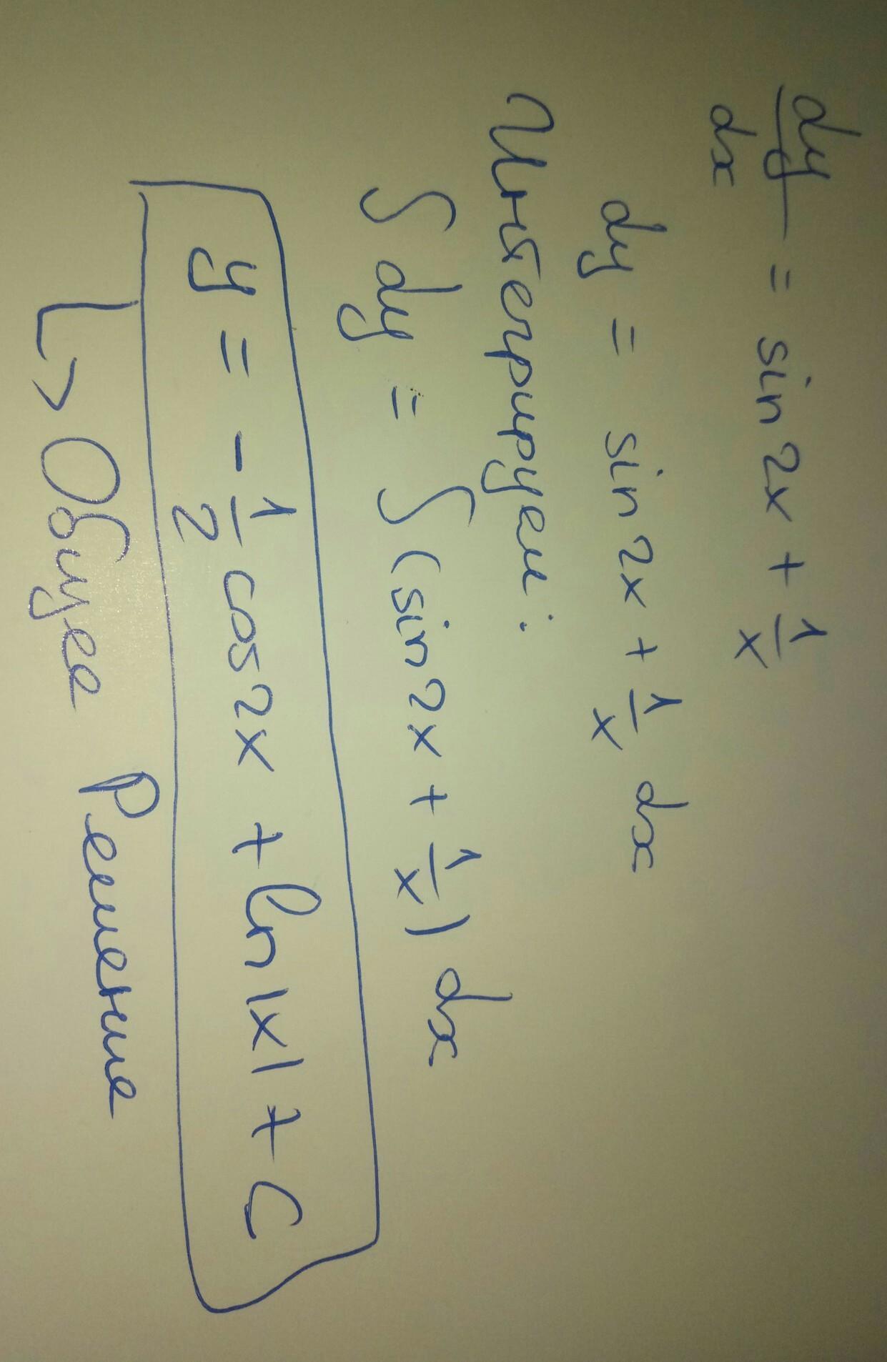 Dy/dx=sin2x+1/x диференціальне