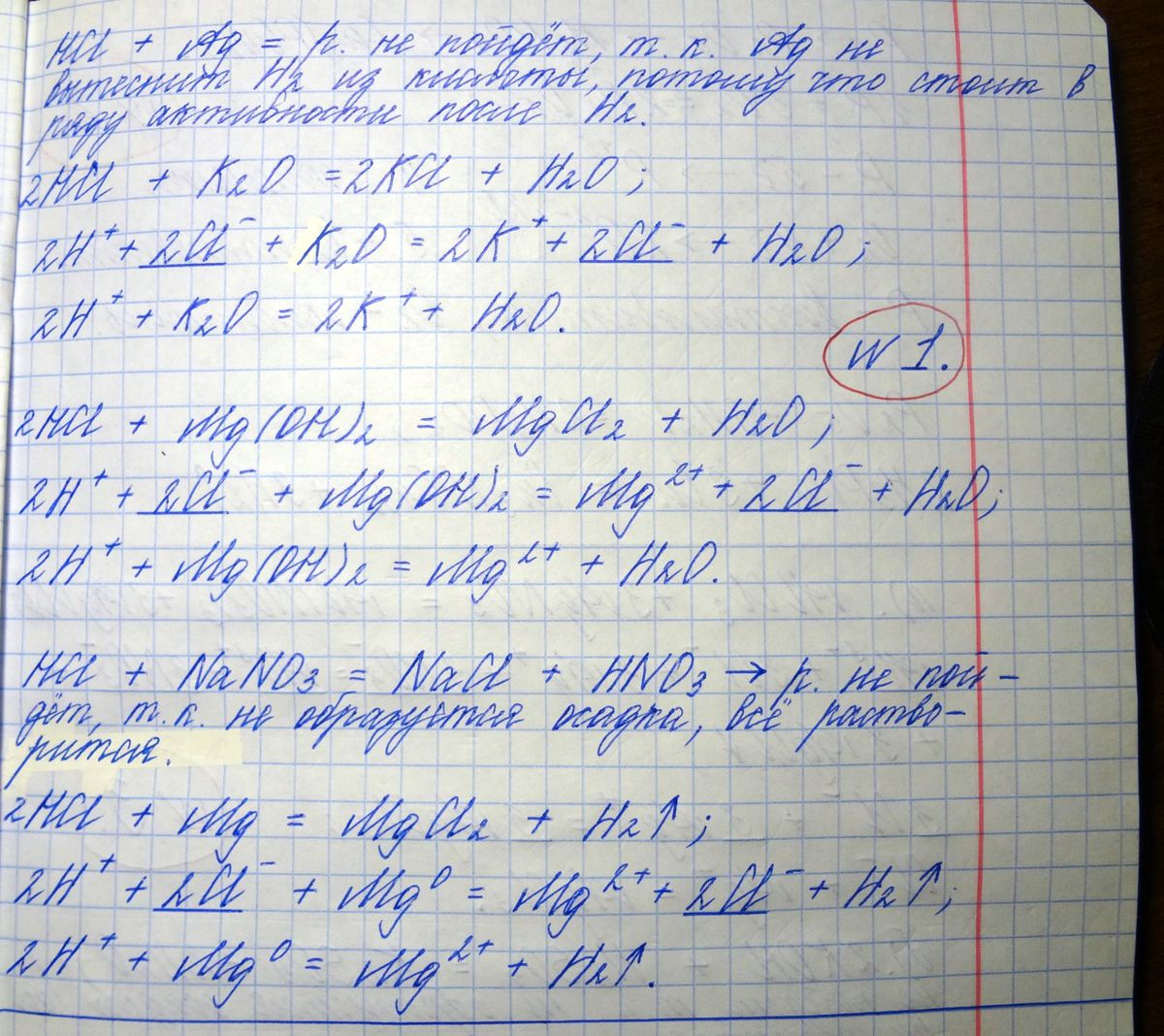 схема взаимодействия магния с кислотой