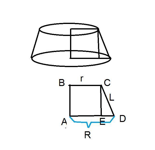 Прямоугольная трапеция вращается вокруг меньшей