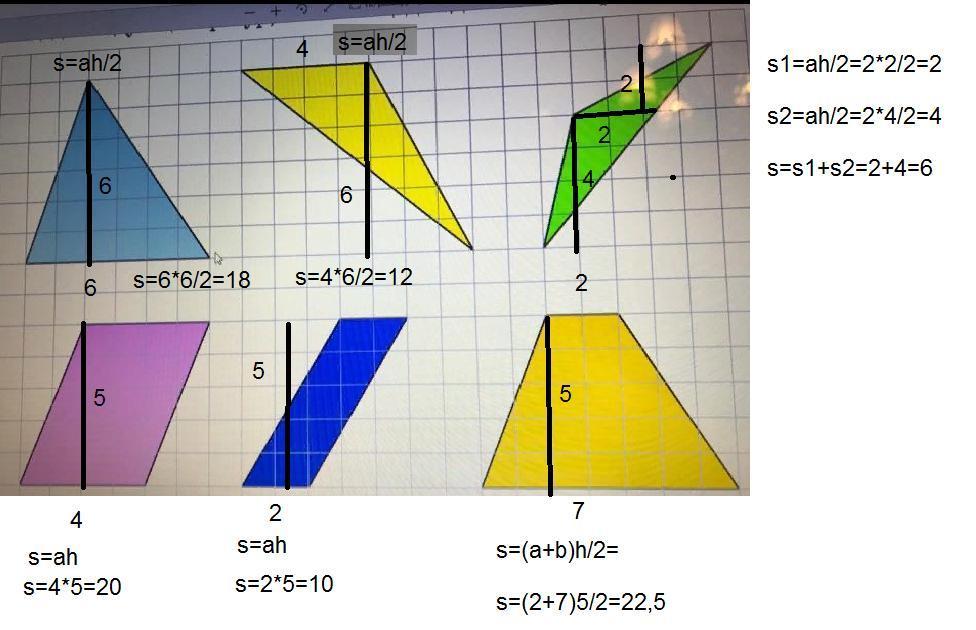 Найдите площадь следующих фигур, если площадь
