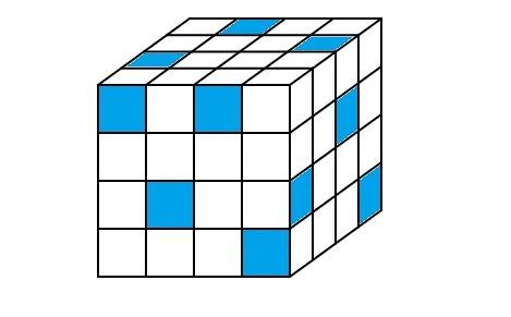 Все грани куба — это квадраты 4×4. Вася хочет закрасить несколько квадратиков 1×1 так, чтобы никакие два закрашенных квадратика не имели общей стороны (пример одной из таких раскрасок приведен на рисунке). Какое наибольшее количество квадратиков может быть закрашено? Загрузить png