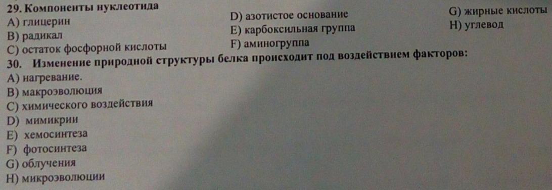 В этих тестах один либо несколько вариантов