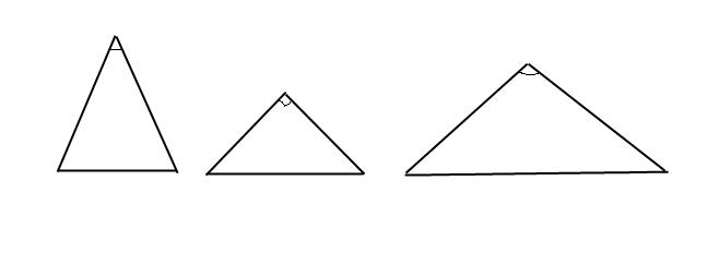 начертите три равнобедренных треугольникатак чтоб угол лежащ