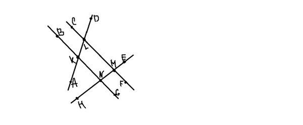 1. Укажите два угла, каждый из которых образует с углом NML пару односторонних углов.<br> Ответ: ___