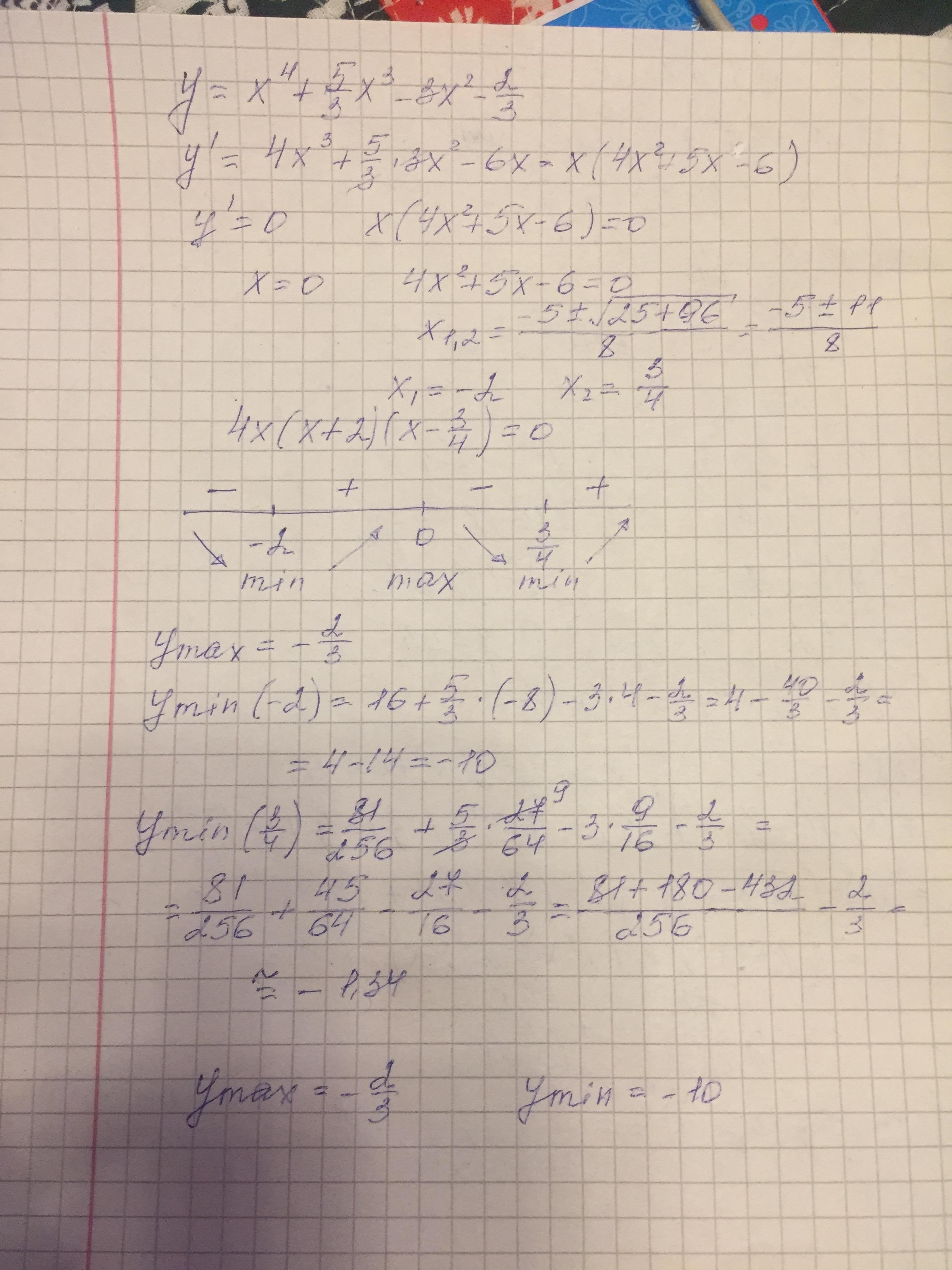 Экстремум функций y=x^4+(5/3)x^3-3x^2-(2/3)