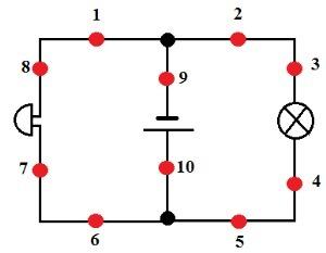Рассмотри схему электрической цепи!Укажи, в каком