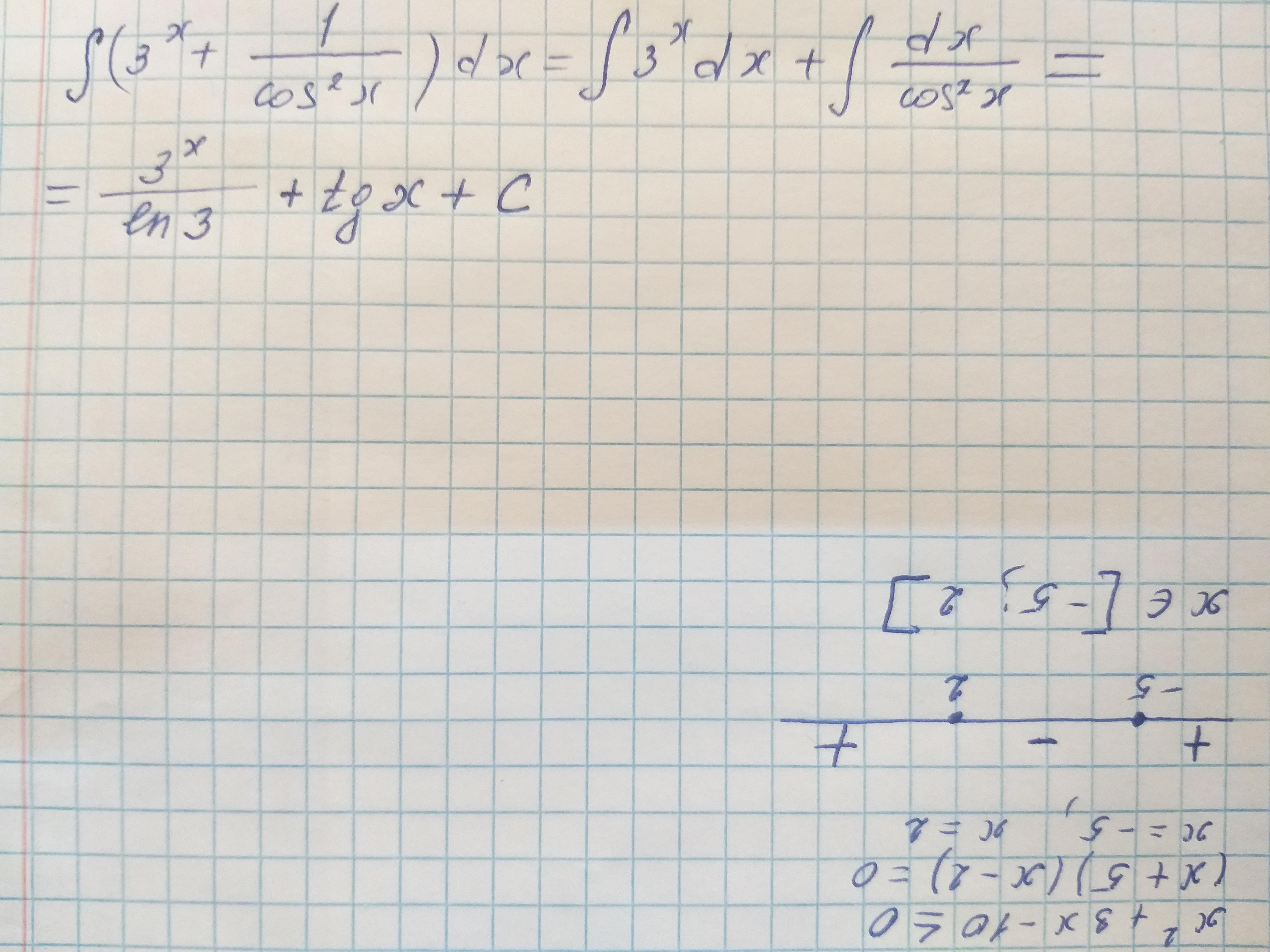 F(x) =3^x+1_cos^2x найти интеграл