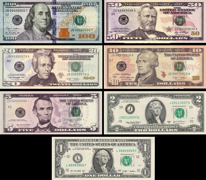 Американские доллары - доллар США имеет статус национальной