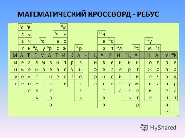 Кроссворды по математике 7 6 с ответами