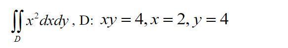 Вычислить двойной интеграл по области D,