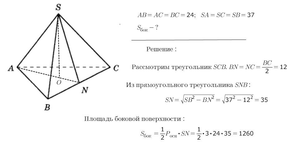 площадь треугольника поверхности пирамиды