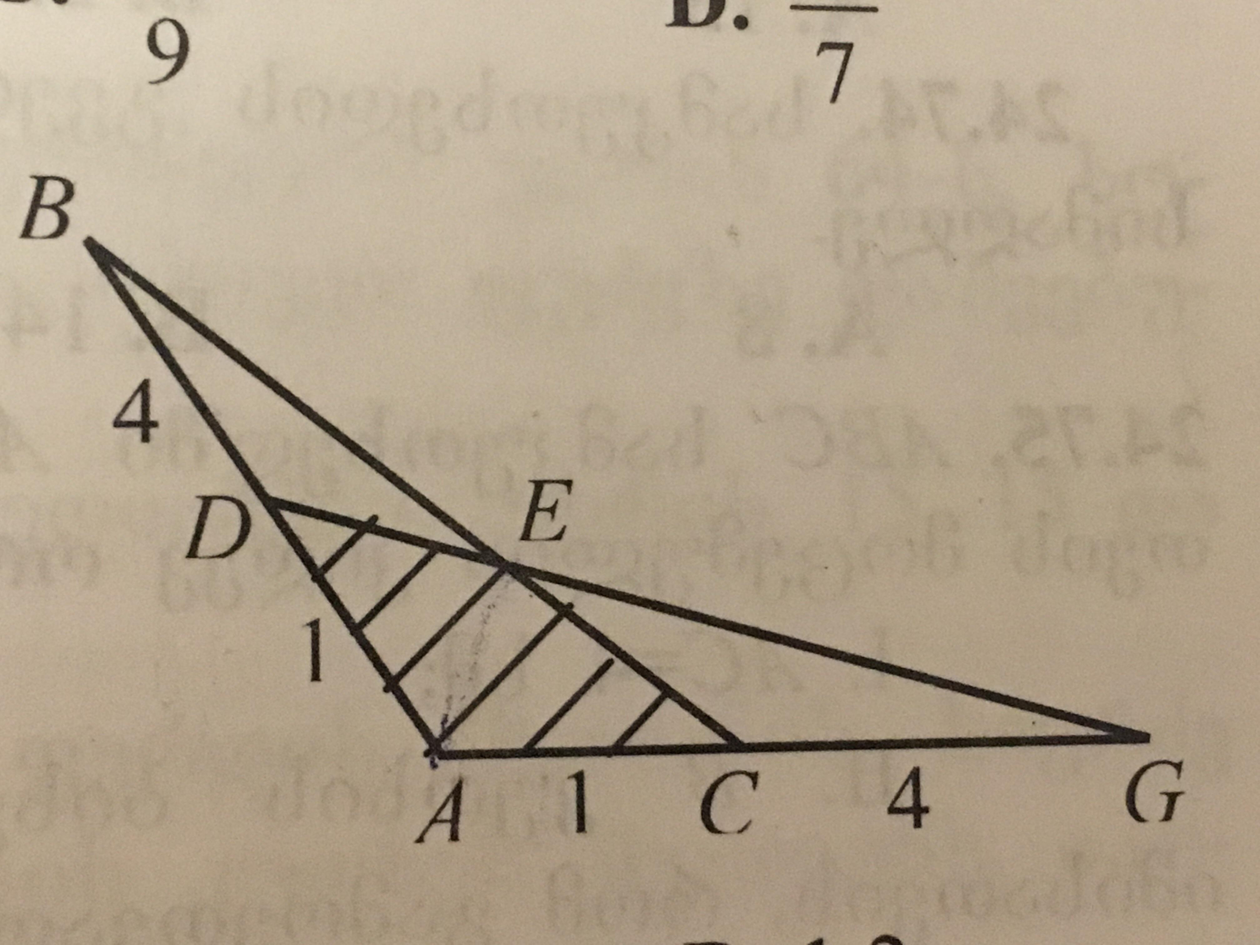 Как найти площадь ADEC, если эти треугольники
