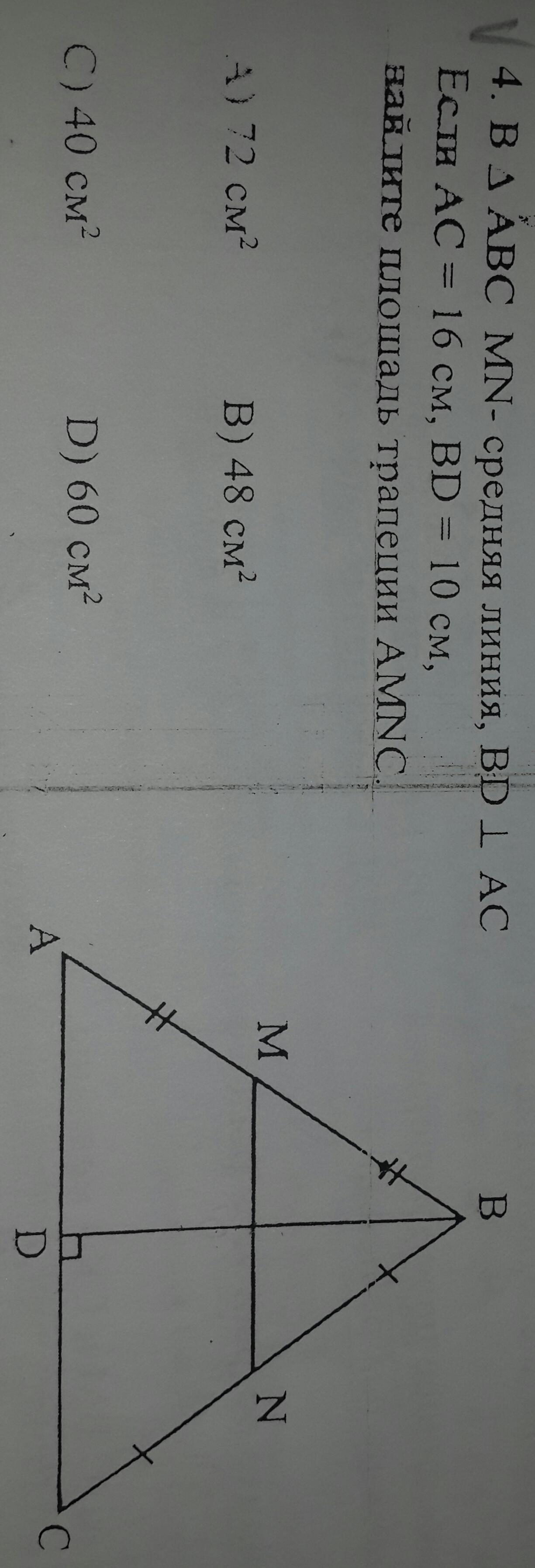 В треугольнике АВС MN -средняя линия, BD