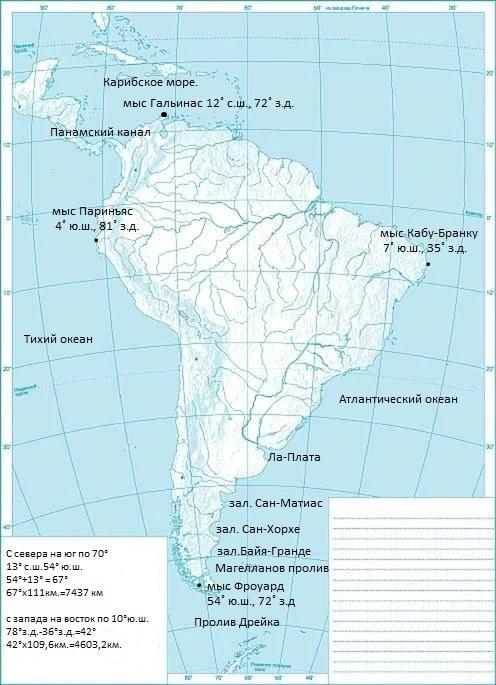 Контурная карта 7 класс южная америка