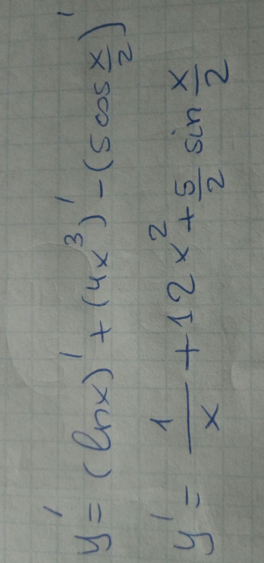 Знайти похидну функции y=lnx+4x^3-5cos x/2