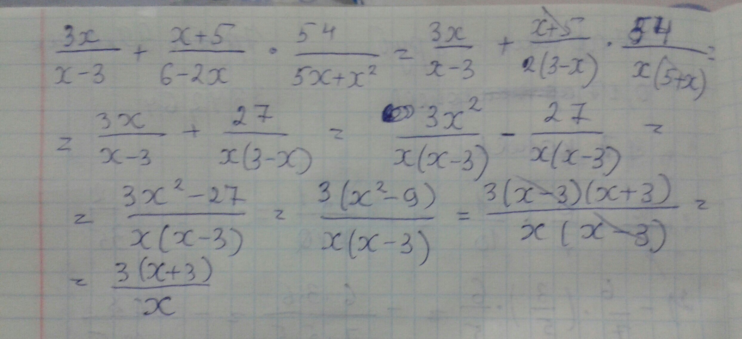 Помогите упростить выражение 3x/x-3 + x+5/6-2x *