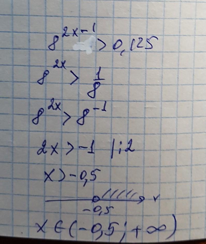 Решите неравенство 8^2x-1>0.125