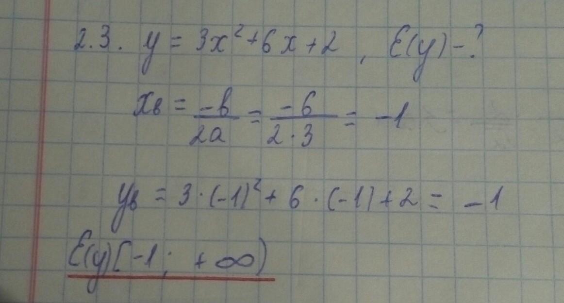 Найти область значения y=3x²+6x+2
