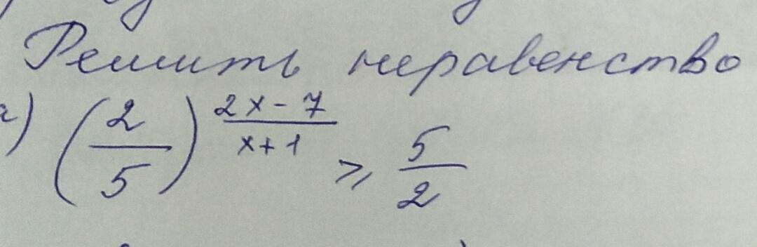 Решить неравенство (2/5)^2x-7/x+1 ≥5/2