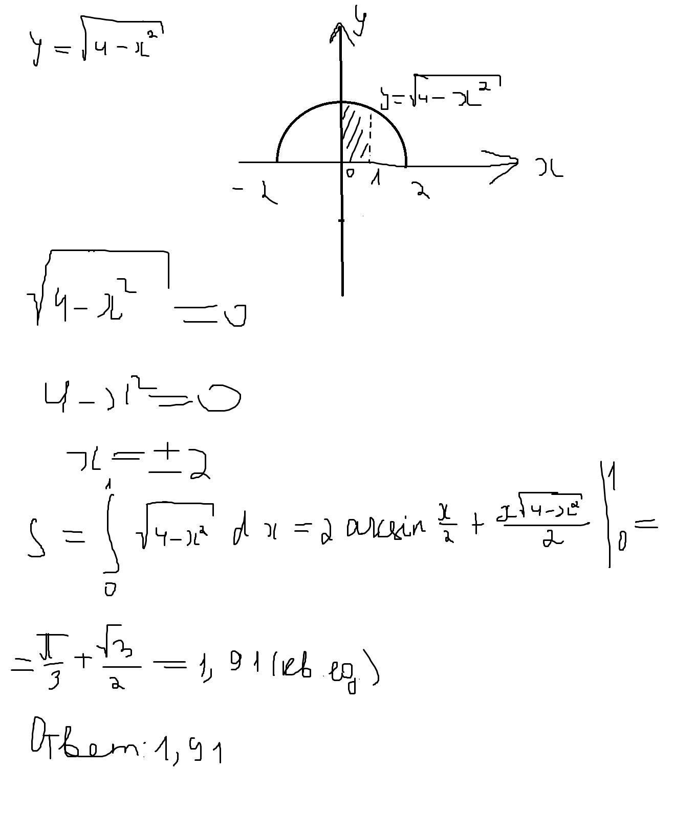 Как вычислить площадь фигуры, ограниченной линиями