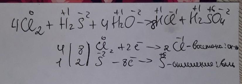 Метод электронного баланса СI2+H2S+H2O-HCI+H2SO4