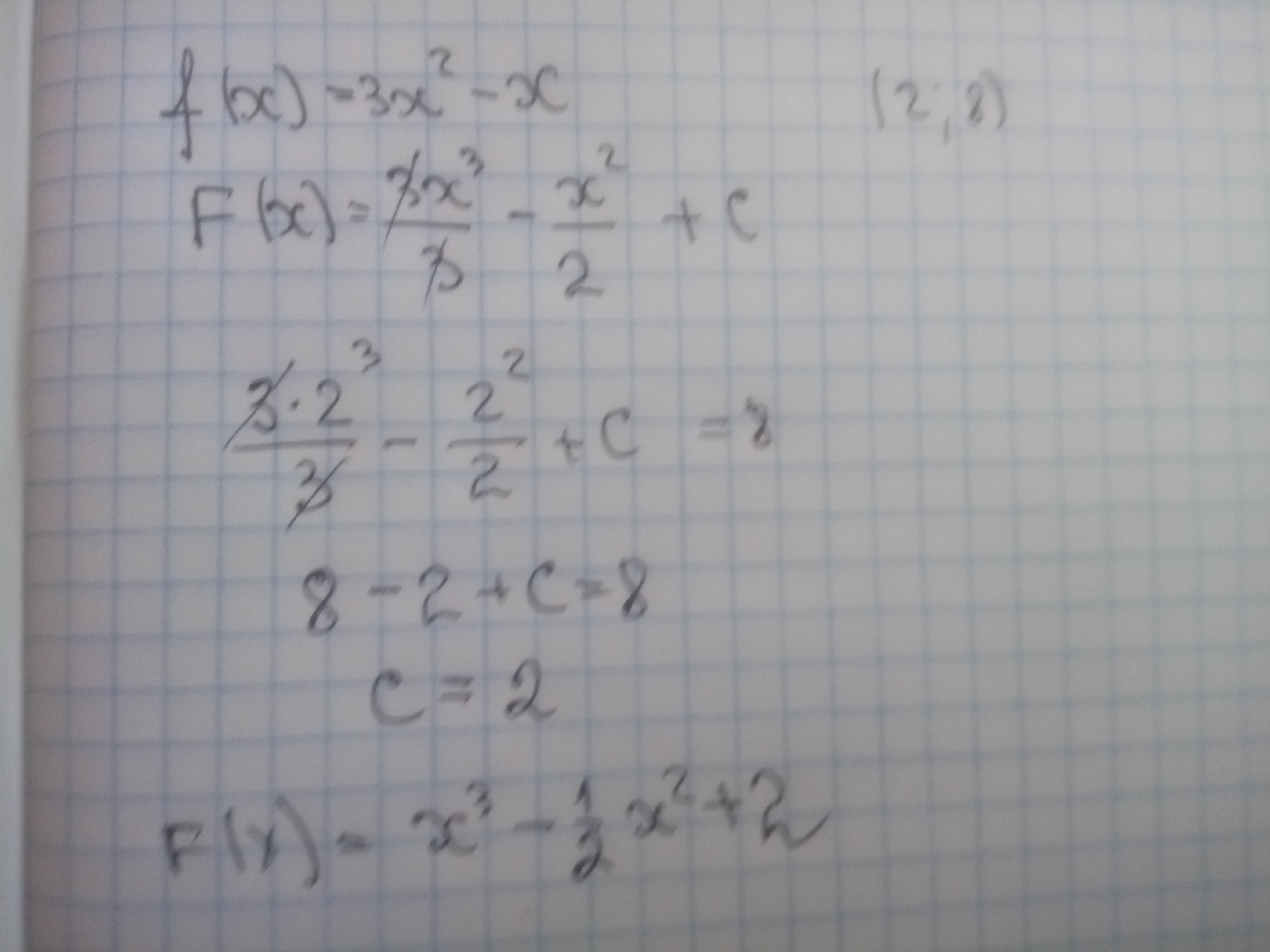 Найти первообразную функции f(x)=3x^2-x,график