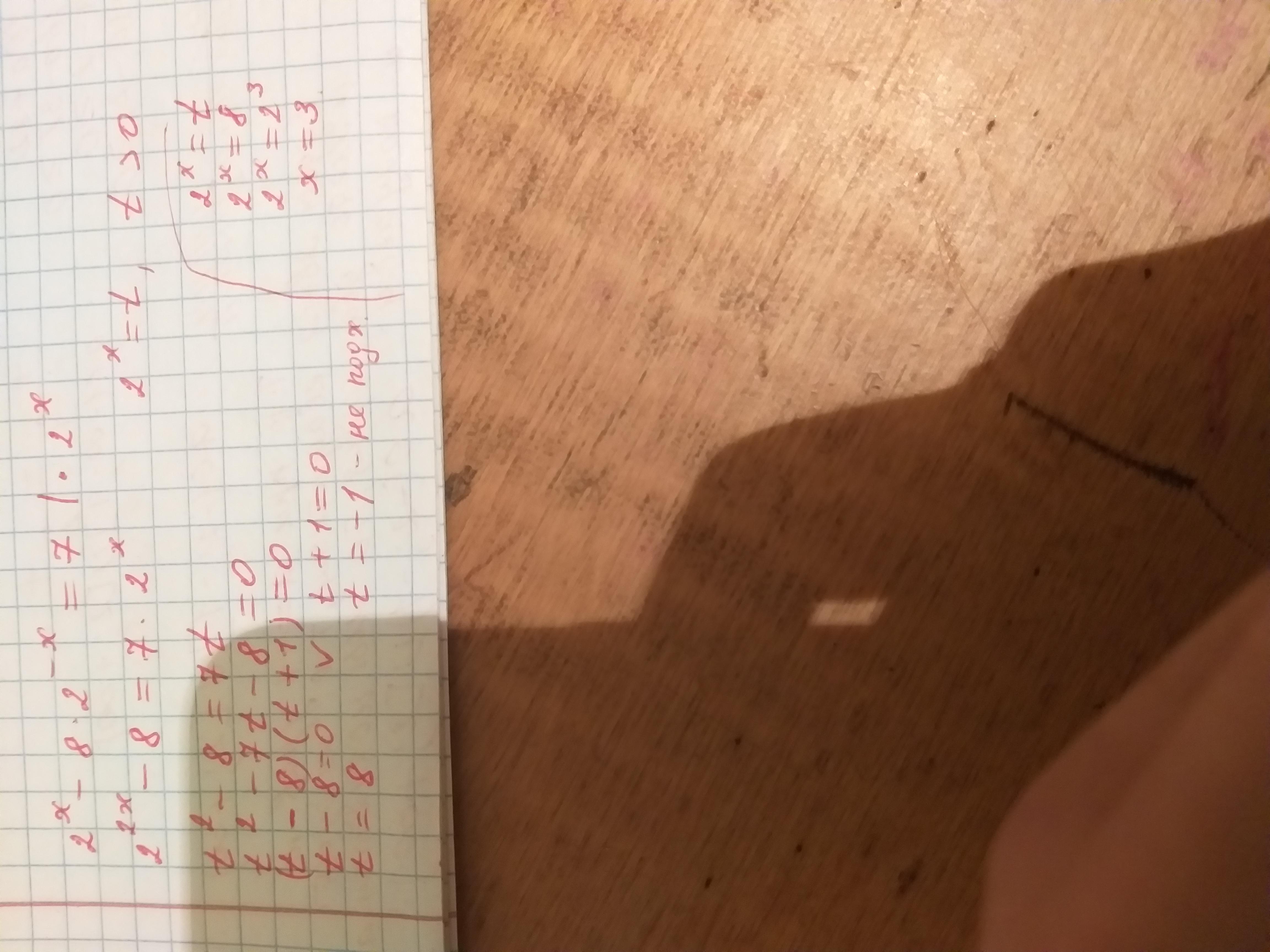 Уравнение : 2^x - 8 * 2^-x =7