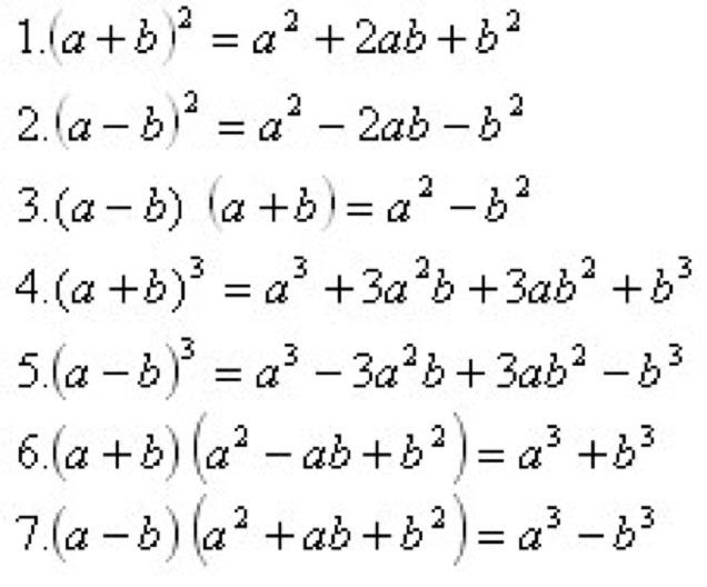 формулы сокращенного умножения 7 класс картинки