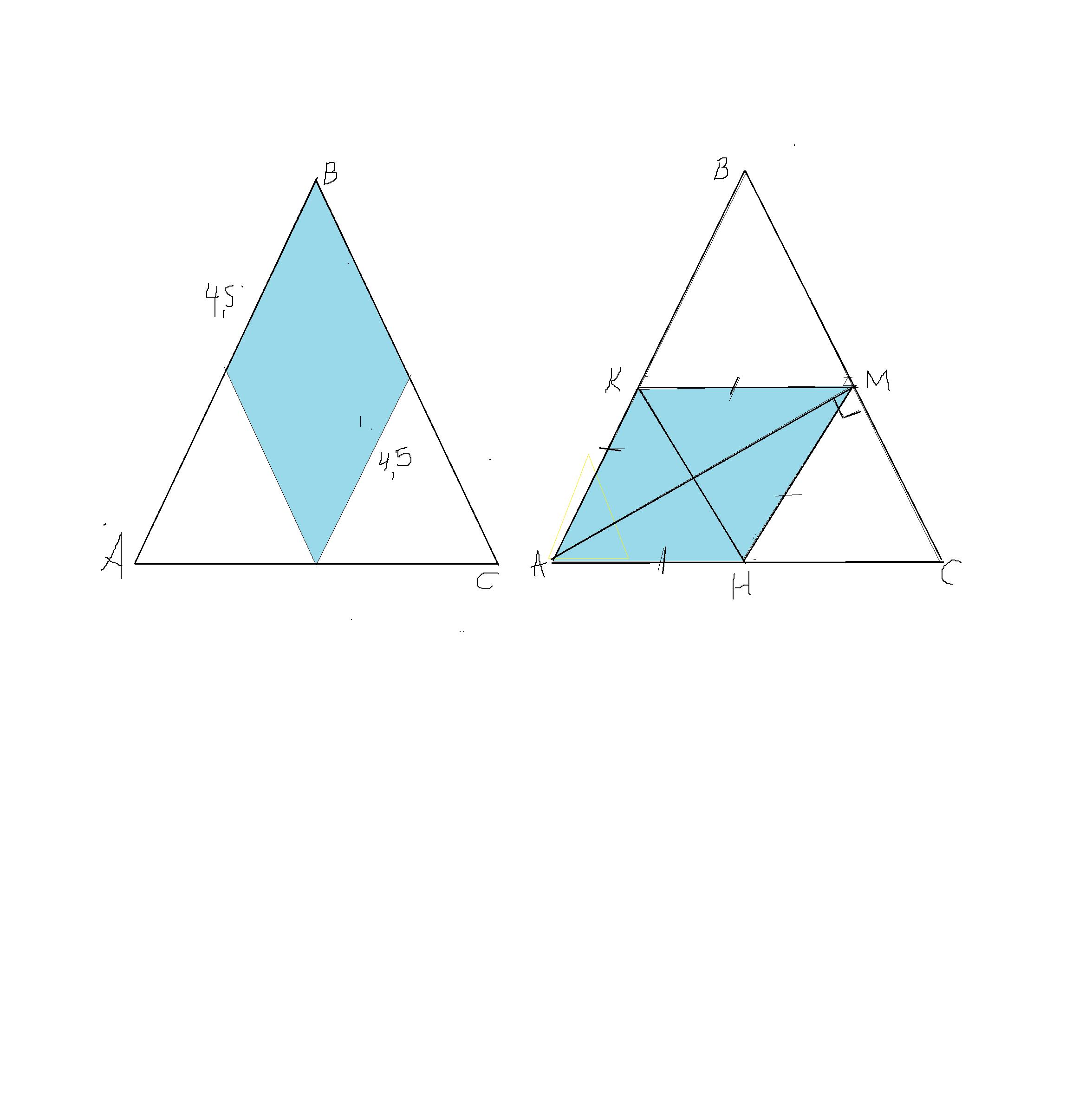 Рисунок равнобедренного треугольника по основанию и углу при основании