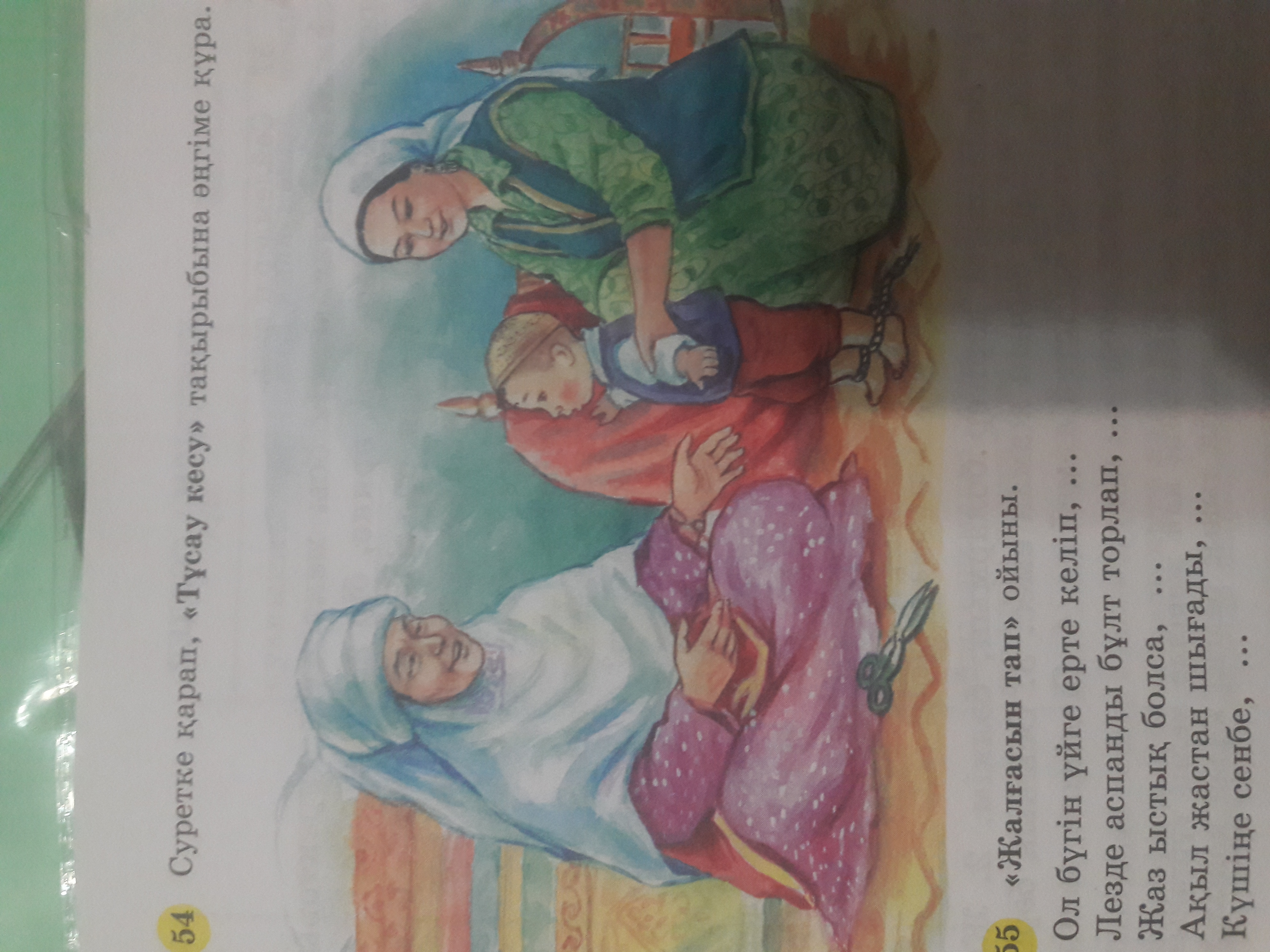 Помогите написать сочинение на казах.яз на тему Тұсау кесу по картинке