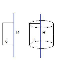 Прямоугольник со сторонами 6 см и 14 см, вращается