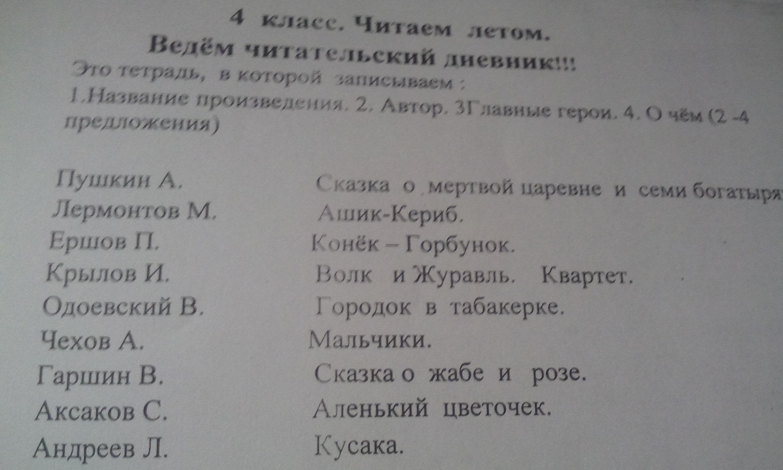 одоевский читательский дневник