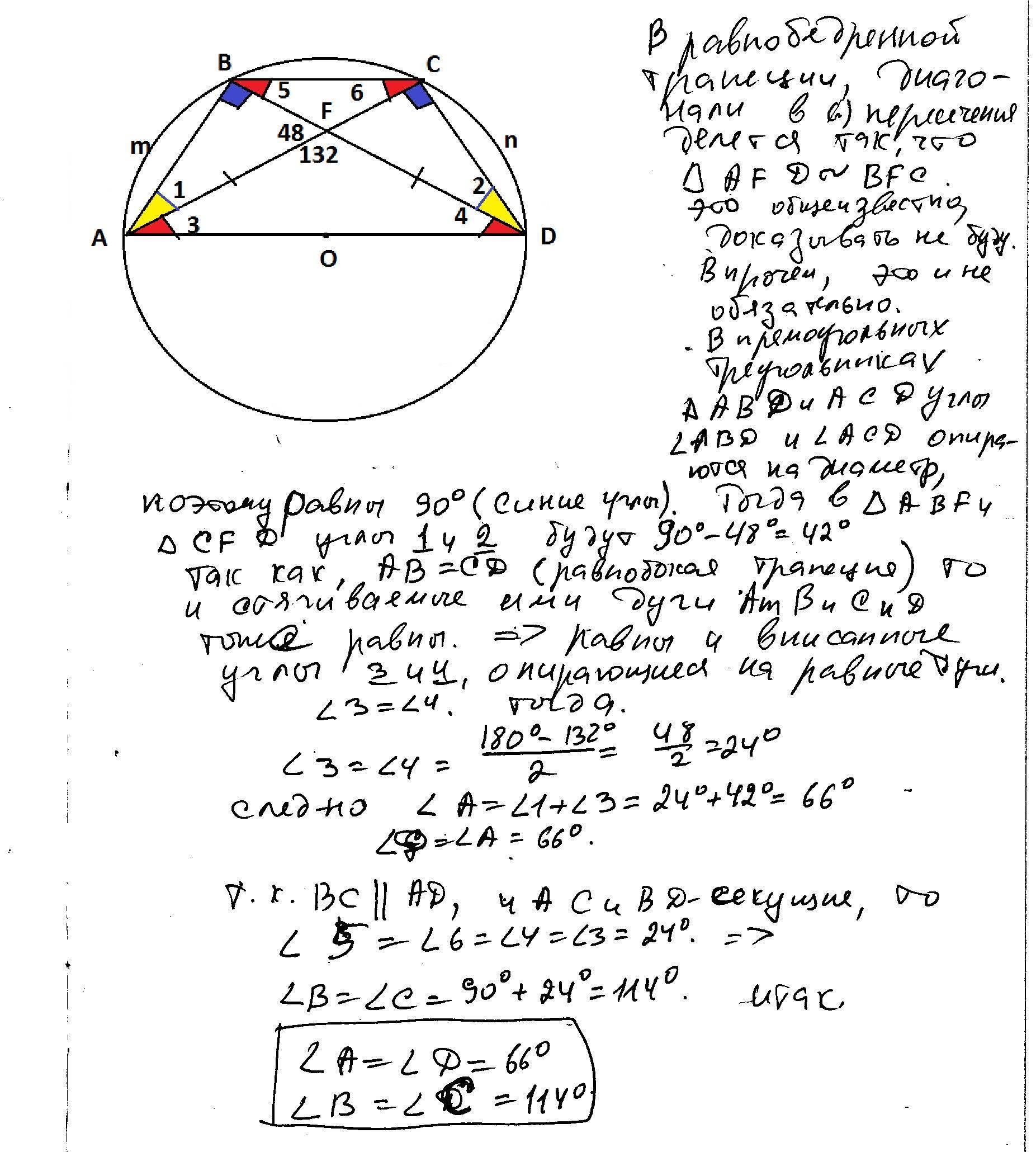 Около окружности радиуса 3 описана равнобедренная трапеция ... | 2060x1853