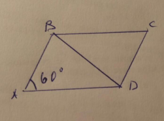 В Ромбе ABCD BD=15 cm, угол А=60° Найдите периметр