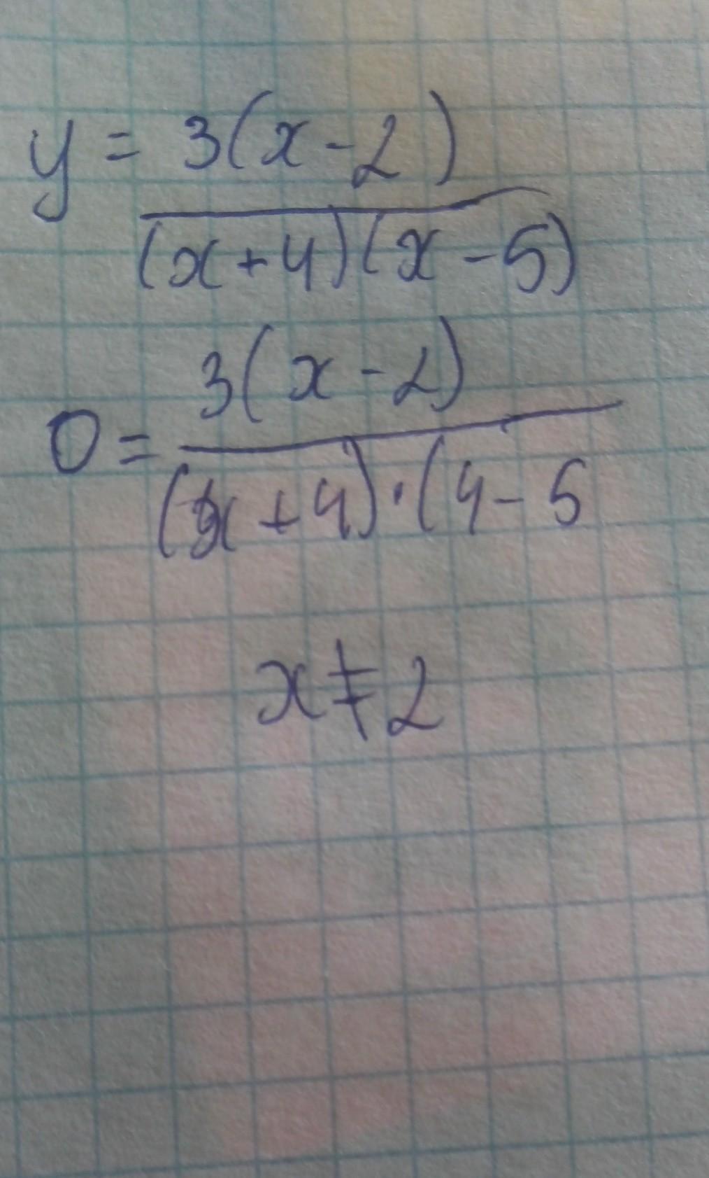 Y= 3(x-2)/(x+4)(x-5)Варианты ответов А-х≠2; Б-х≠-4,х≠5; В-х≠0; Г-х- будь-яке число<div class=