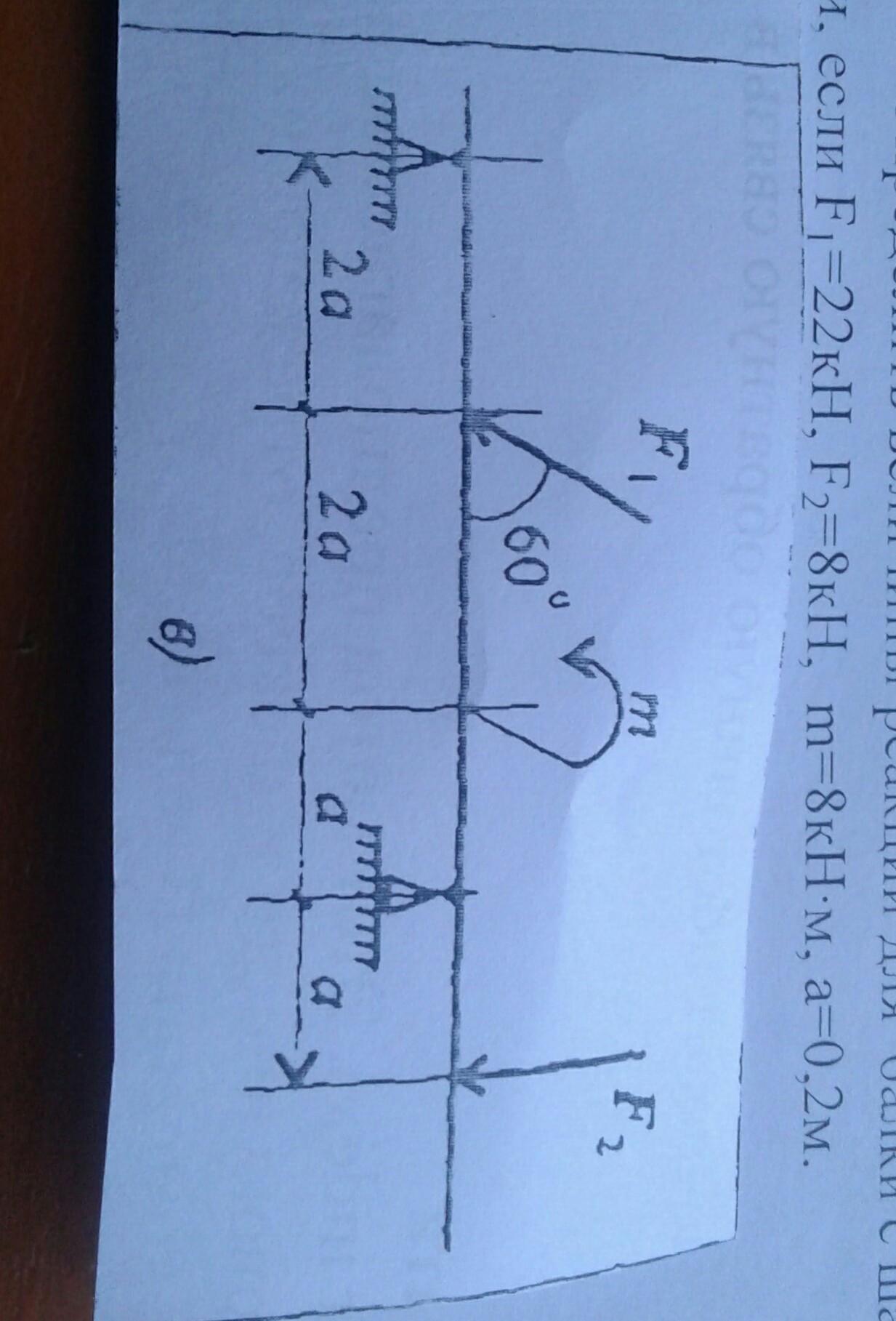 Определение величины реакций для балки с