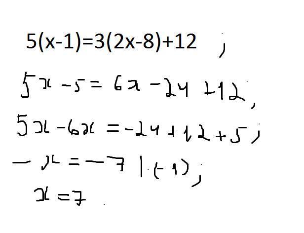 5(х-1)=3(2х-8)+12 решите уравнение